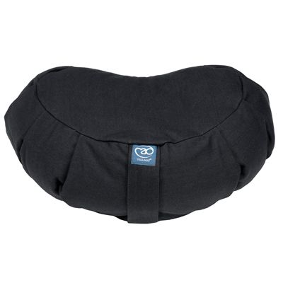 Yoga Mad Zafu Pleated Crescent Buckwheat Cushion - Black