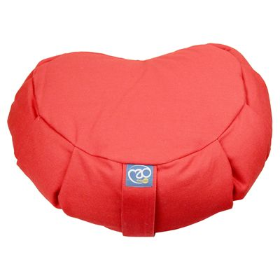 Yoga Mad Zafu Pleated Crescent Buckwheat Cushion - Red