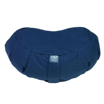 Yoga Mad Zafu Pleated Crescent Buckwheat Cushion - Blue