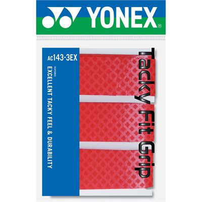 Yonex AC143EX Badminton Grips 3 Pack Red
