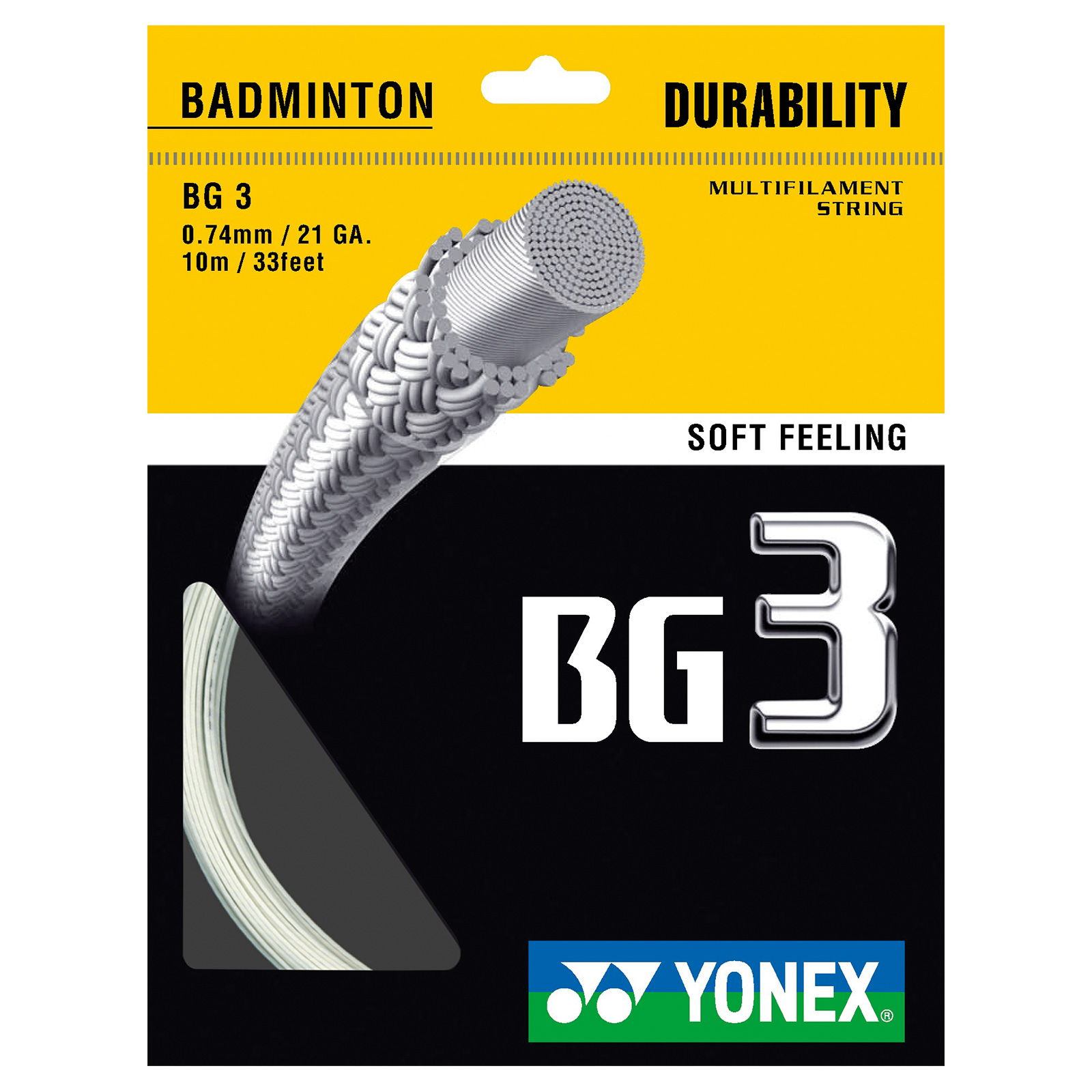 Yonex BG 3 Badminton Racket String - 10m Set