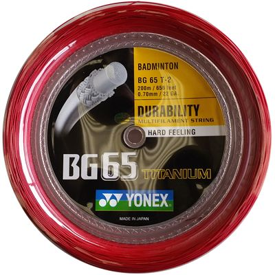 Yonex BG 65 Ti Badminton Racket String 200m Reel - Red