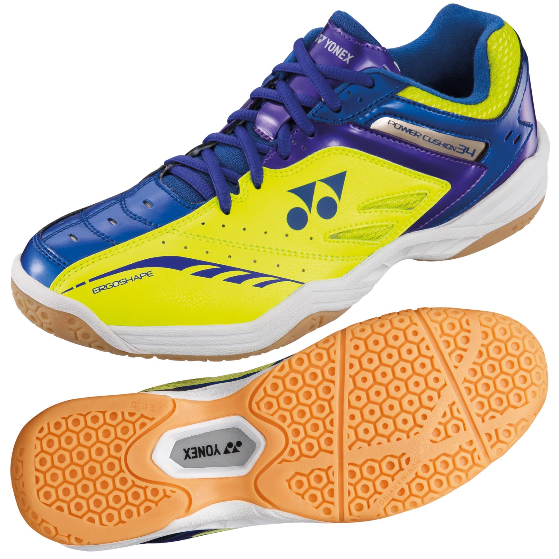 Yonex Power Cushion 34 Mens Badminton Shoes  YellowBlue 11 UK