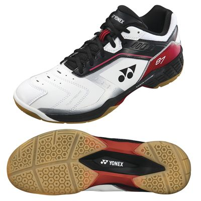 Yonex SHB 87EX Mens Badminton Shoes - Red and Black