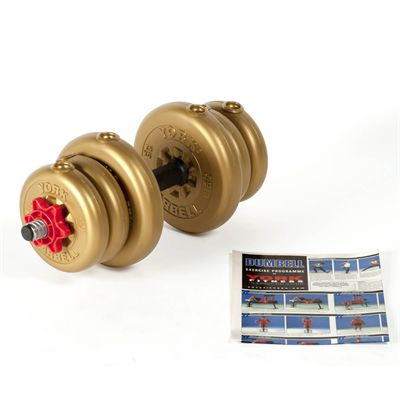 York 10kg Gold Adjustable Vinyl Spinlock Dumbbell