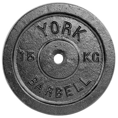 York 15kg Black Cast Iron 1Inch Plate