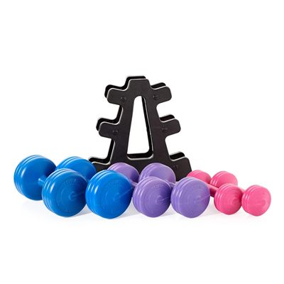 York 19kg Vinyl Dumbbell Weight Set with Stand - Dumbells2