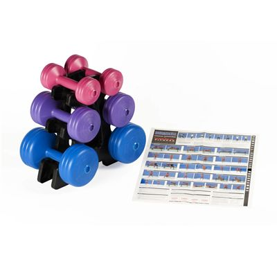 York 19kg Vinyl Dumbbell Weight Set with Stand - Exercises