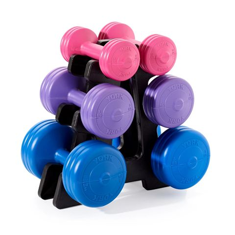 York 19kg Vinyl Dumbbell Weight Set with Stand