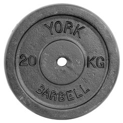 York 20kg Black Cast Iron 1Inch Plate