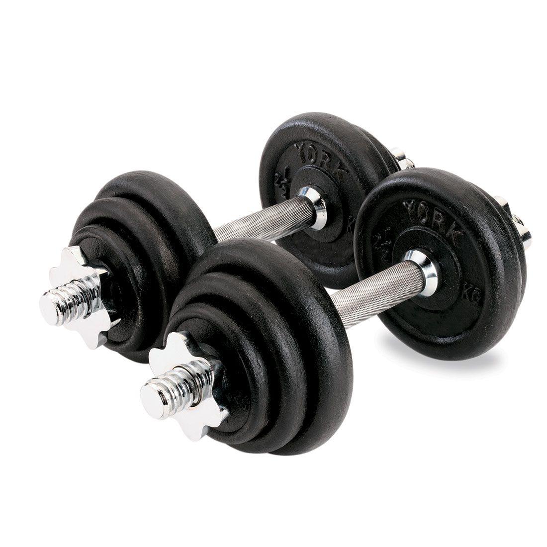 York Adjustable Dumbbells: York 20kg Black Cast Iron Dumbbell Set