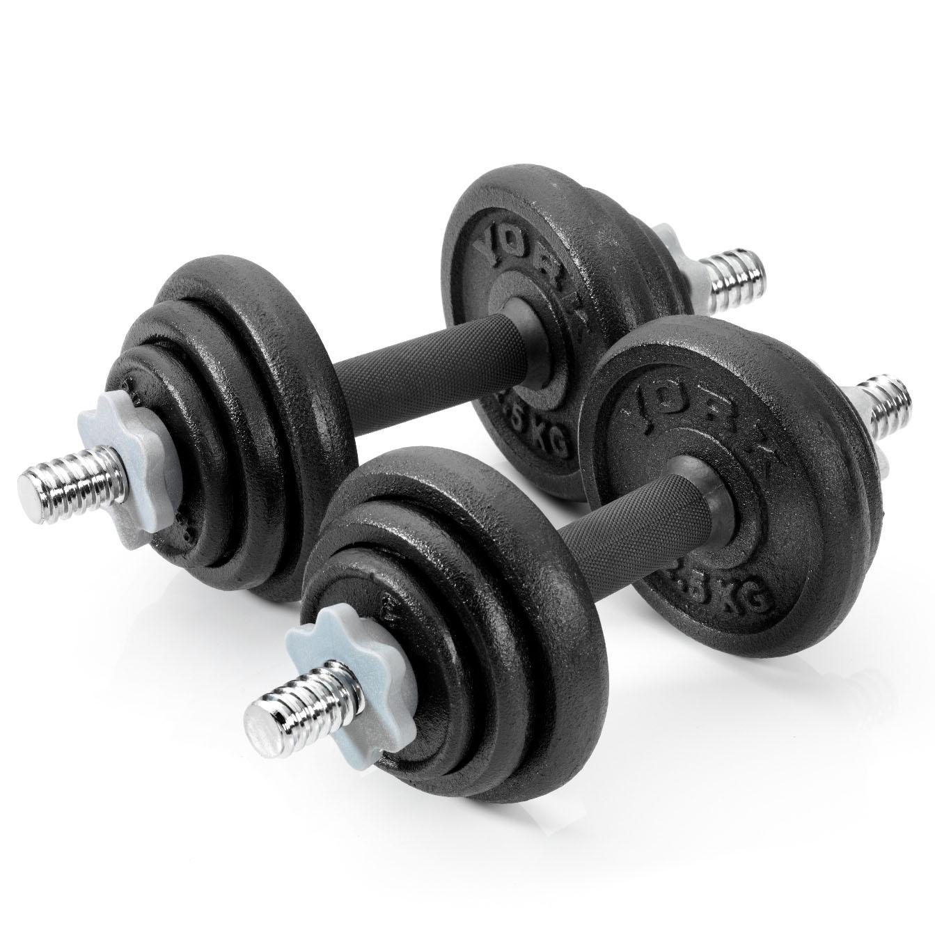 York 20kg Black Cast Iron Dumbbell Spinlock Set