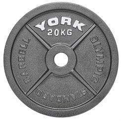 York 20kg Hammertone Cast Iron Olympic Plate
