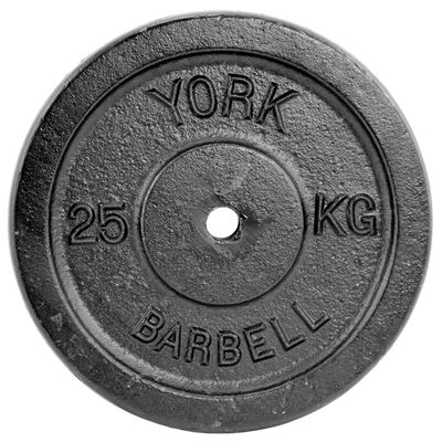 York 25kg Black Cast Iron 1 Inch Plate