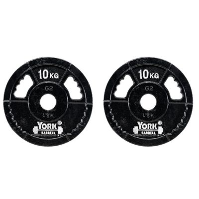 York 2 x 10kg G2 Cast Iron Olympic Weight Plates