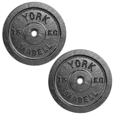 York 2x 15kg Black Cast Iron 1Inch Plates