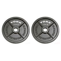 York 2 x 15kg Hammertone Cast Iron Olympic Weight Plates