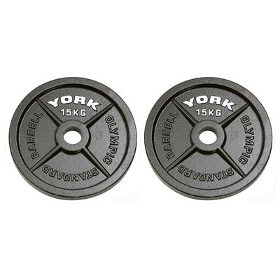 York 2x15kg Hammertone Cast Iron Olympic Weight Plates