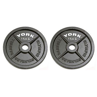 York 2x15kg Hammertone Cast Iron Olympic Weight Plates