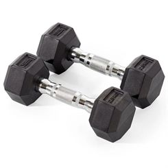 York 2 x 2.5kg Rubber Hex Dumbbells