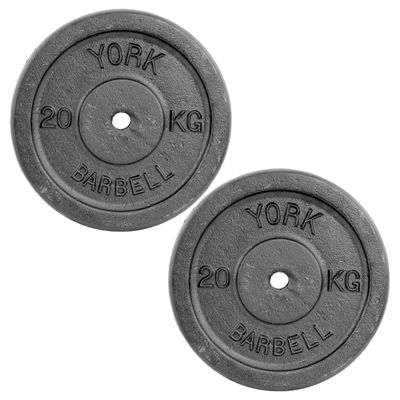 York 2 x 20kg Black Cast Iron 1Inch Plates