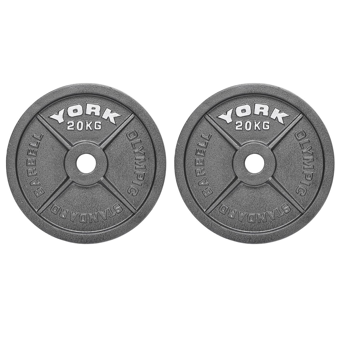 York 2 x 20kg Hammertone Cast Iron Olympic Weight Plates