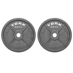 York 2 x 20kg Hammertone Cast Iron Olympic Weight Plates