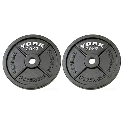York 2x20kg Hammertone Cast Iron Olympic Weight Plates