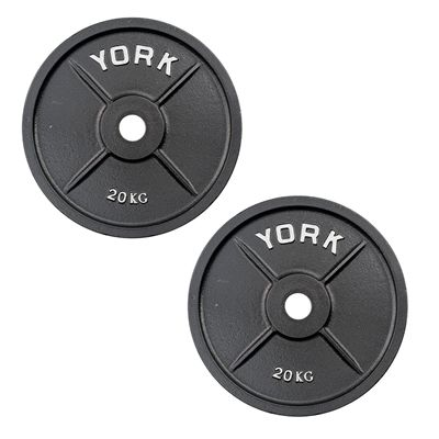 York 2 x 20kg Olympic Cast Iron Plates