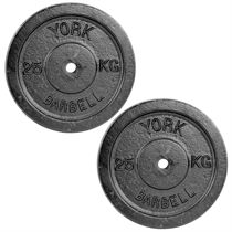 York 2 x 25kg Black Cast Iron 1Inch Plates