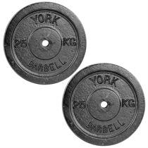 York 2 x 25kg Black Cast Iron 1Inch Plates