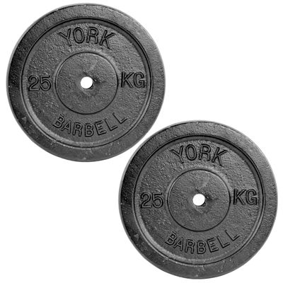 York 2x 25kg Black Cast Iron 1Inch Plates