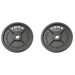York 2 x 25kg Hammertone Cast Iron Olympic Weight Plates