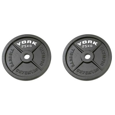 York 2x25kg Hammertone Cast Iron Olympic Weight Plates