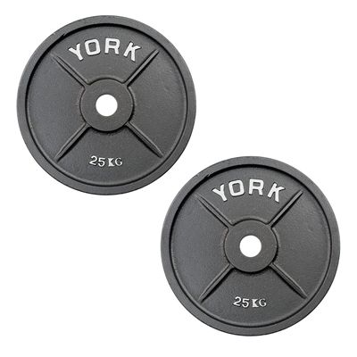 York 2 x 25kg Olympic Cast Iron Plates