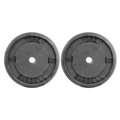 York 2x 10kg Black Cast Iron 1Inch Plates