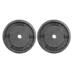 York 2x 10kg Black Cast Iron 1Inch Plates
