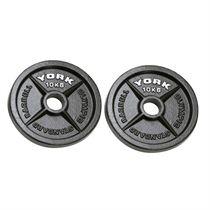 York 2x 10kg Hammertone Cast Iron Olympic Plates