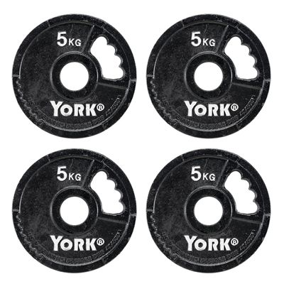 York 4 x 5kg G2 Cast Iron Olympic Weight Plates