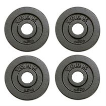 York 4x 2.5kg Hammertone Cast Iron Olympic Plates