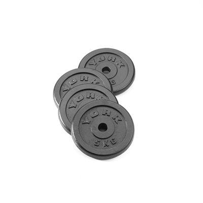 York 4x 5kg Black Cast Iron 1Inch Plates
