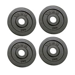 York 4x 5kg Hammertone Cast Iron Olympic Plates