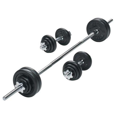 York 50kg Black Cast Iron Barbell and Dumbbell Set