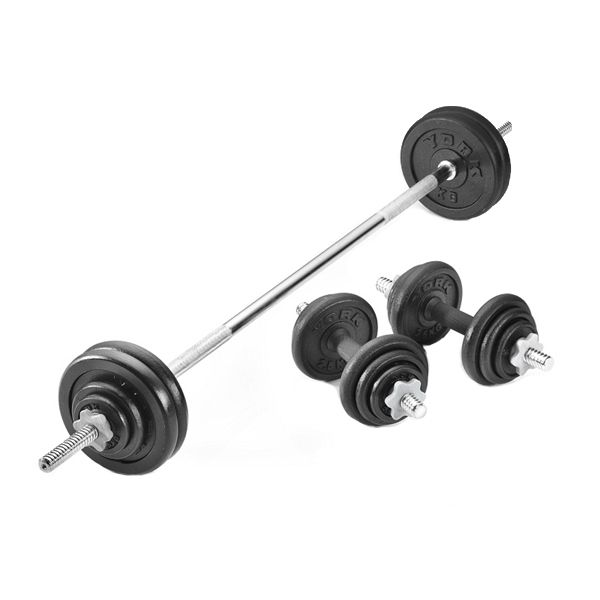 York 50kg Black Cast Iron Barbell And Dumbbell Set In A