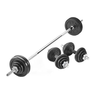 York 50kg Black Cast Iron Barbell and Dumbell Set