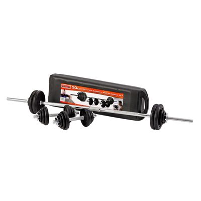 York 50kg Black Cast Iron Barbell and Dumbell Set in a Case