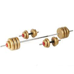 York 50kg Gold Vinyl Spinlock Barbell and Dumbbell Weight Set