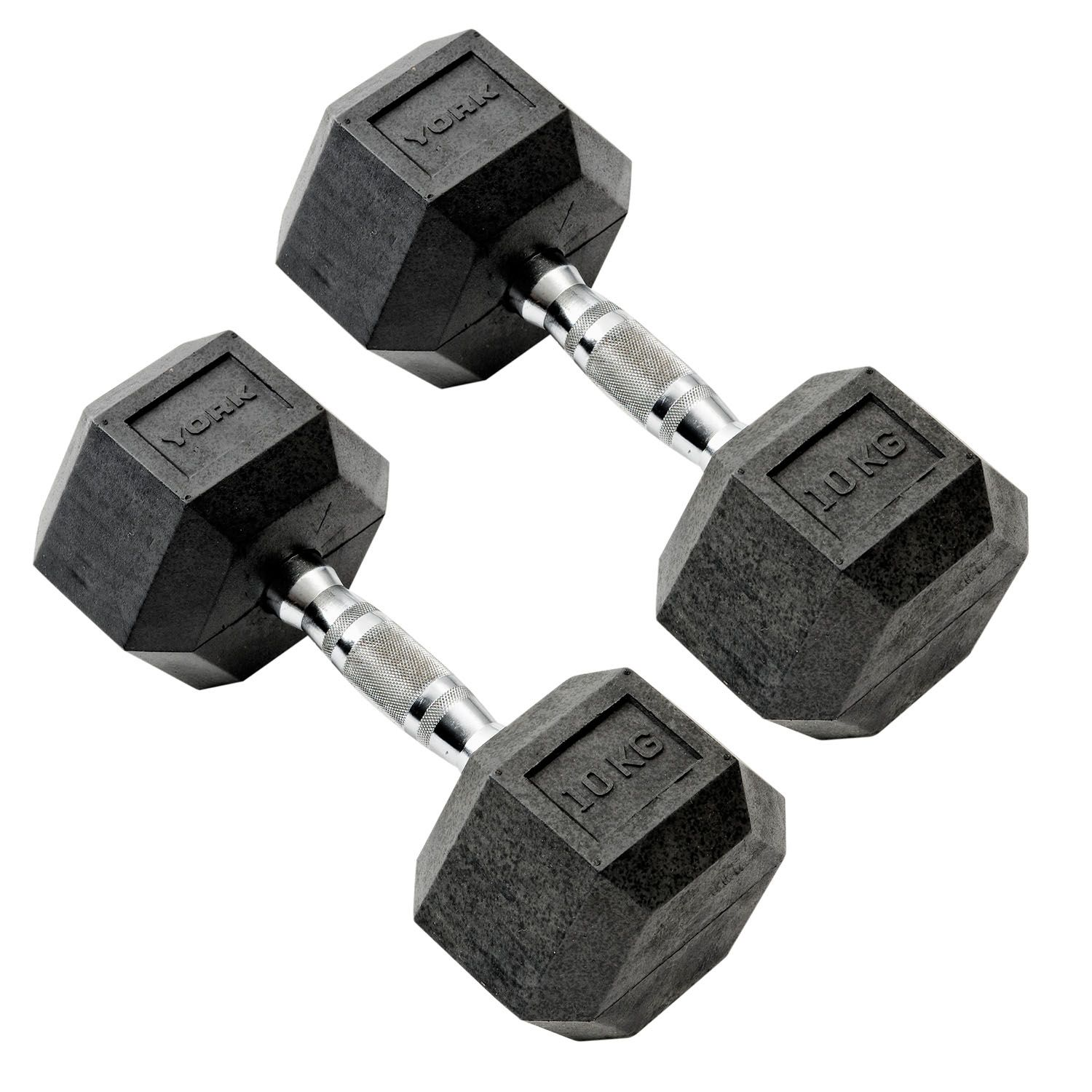 York 5 To 20kg Rubber Hex Dumbbell Set With A Frame Rack