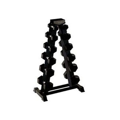 York 5 to 20kg Rubber Hex Dumbbell Set with A-Frame Rack