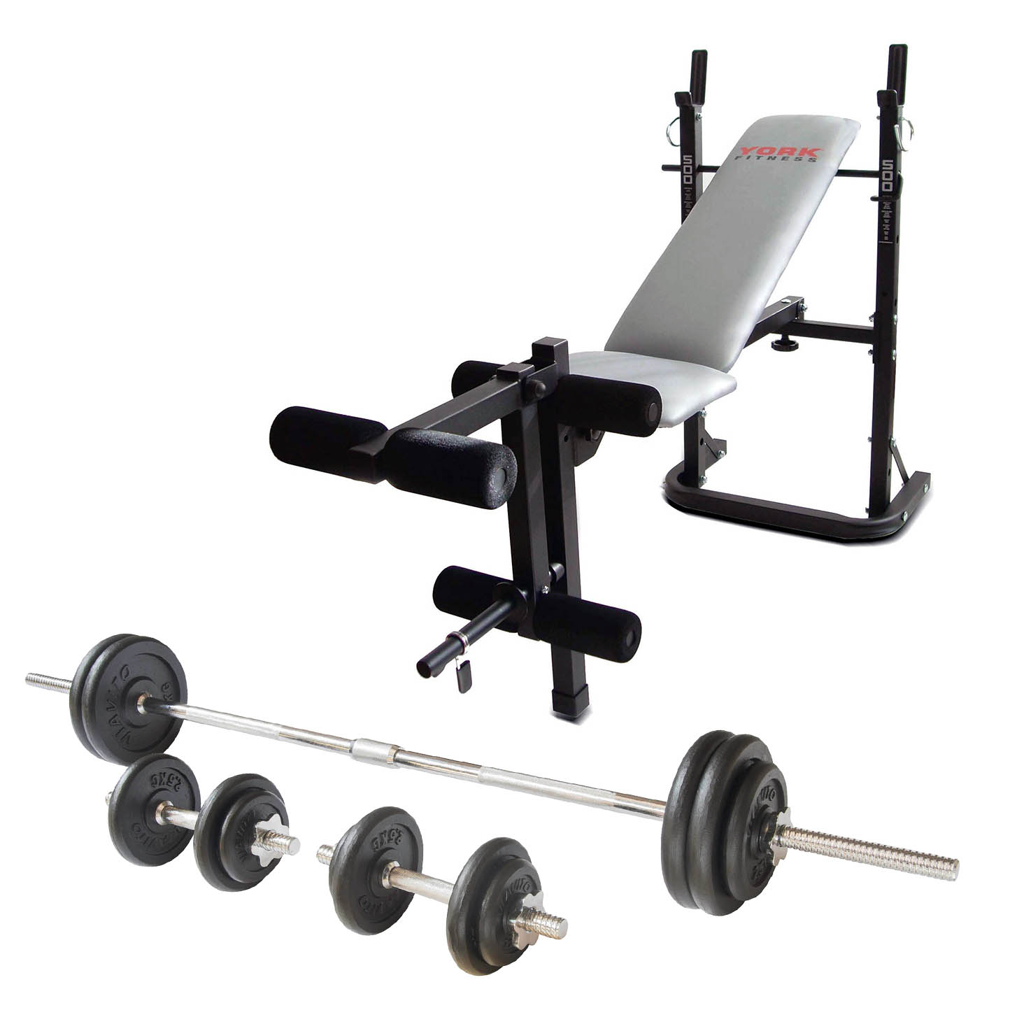 York B500 Weight Bench with Viavito 50kg Cast Iron Weight Set
